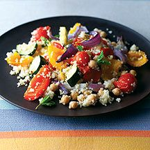 Weight watchers - couscous, chickpea and roasted veg salad
