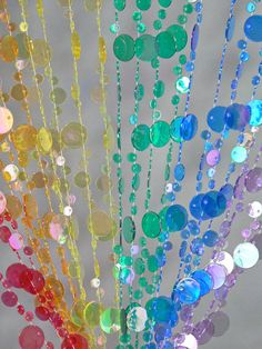 Iridescent Rainbow Beaded Curtain -- Champagne Bubbles