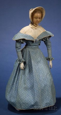 Early Poured Wax Portrait Doll in Quaker Dress | Sale Number 2383, Lot Number 719 | Skinner Auctioneers