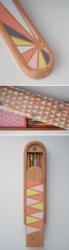 DIY: Pretty Painted Pencil Boxes.  |   Design Mom #diy