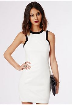 Missguided - Constance PU Racer Neck Contrast Bodycon Dress White
