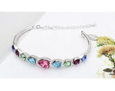 Ninabox ® Rainbow Collection [RC] -- Rainbow Heart. Fashion Jewelry Alloy Bangle Bracelet with Heart Shaped Multicolored Austria Swarovski Elements Crystal.