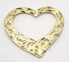 14k Solid Gold Heart Pendant Charm Beautiful Filigree Slide Style Free Shipping #Pendant