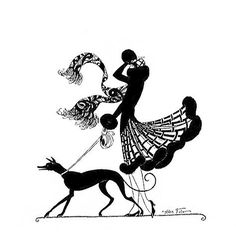Greyhound and Woman silhouette, 1927 - Art by Helen Fuller.