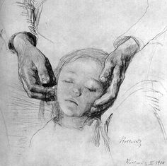 Kathe Kollwitz Child's Head in Mother's Arms