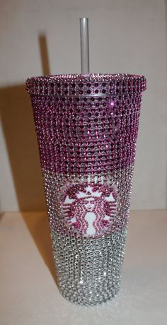 Pink Crystal Ombre Starbucks Cold Cup on Etsy, $33.00