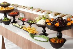 4 Can't-Pass-Up Food Bar Ideas You Need for Your Wedding Buffet - Brit + Co Wedding Food Stations, Wedding Reception Food, Wedding Catering, Wedding Ideas, Buffet Wedding, Wedding Trends, Wedding Foods, Wedding Inspiration, Party Buffet