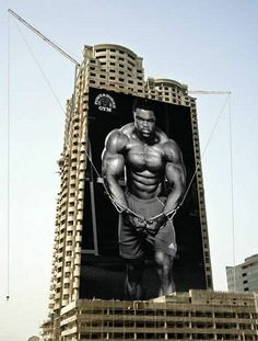 One of my favorite gym ads!  They actually hooked the cables to the building!  Hope whoever came up with this idea got paid well, they deserve it!