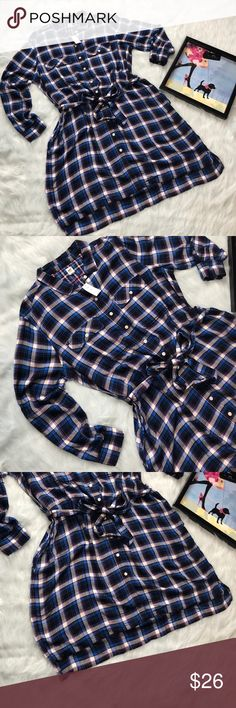 🌺Adorable plaid shirt dress🌺Sale Blue /pink plaid shirt dress,has 2pockets and tie waist,hangs just alil in back really cute with roll up sleeve.No trades or private offers much submit reasonable offers only thx💋 GAP Dresses
