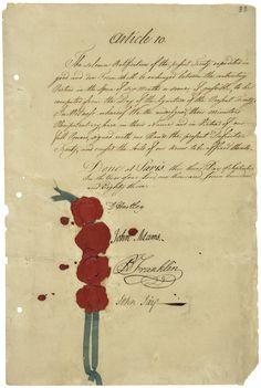 Final page of the Treaty of Paris signed by John Adams, Benjamin Franklin and John Jay | www. USHistoryScene.com