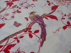 Bird Fabric, Almond-Ivory Cream Background With Birds Red Vines Branches Purple Lilac Mustard Florals.(1/2) Yard 18'' Length, 44'' Width