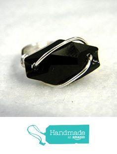 Handmade Sterling Silver Black Swarovski Hexagon Crystal Statement Ring from S L Jewelry Designs http://www.amazon.com/dp/B017QONAS6/ref=hnd_sw_r_pi_dp_KbQswb1X8DJ1W #handmadeatamazon