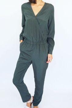 Combi-pantalon vert forêt en soie