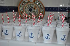 Nautical Sailor Party - Kids Cups spary paint the salior sign on red cups