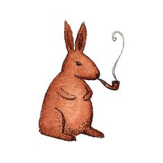 Tattly Temporary Tattoo: Rabbit |     Hey look, it's a cute, cuddly rabbit…smoking a pipe. He's a daring little hare with a bit of a dark side. Rabbit works great on forearms, biceps, shoulders, and any other place that needs a little bunny.
