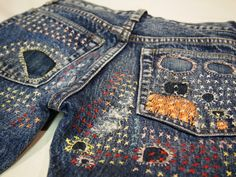 Embroidery and mending, lovely.... TRICO FIELD: Denim Dungaree Jeans Collection