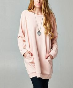 Another great find on #zulily! Dusty Pink Oversize Sweatshirt by Elegant Apparel #zulilyfinds