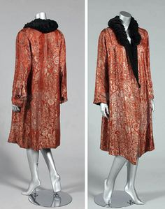 Orange and silver brocaded satin evening coat, ca. mid-1920s, lined in black velvet. Kerry Taylor Auctions