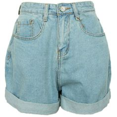 Oversized Boyfriend Style High Waist Denim Shorts with Rolled Cuffs ($49) ❤ liked on Polyvore featuring shorts, bottoms, pants, denim, denim shorts, high-rise shorts, high waisted shorts, high-waisted denim shorts and high-waisted jean shorts