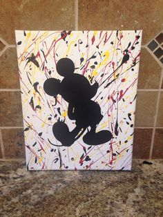 A personal favorite from my Etsy shop https://www.etsy.com/listing/245975289/mickey-mouse-splatter-paint-canvas-8x11