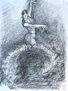 #flamenco #flamencodancer #dancer #drawing #charcoalpencil Dancer Drawing, Flamenco Dancers, Original Artwork, It Works, Ink, Watercolor, The Originals, Drawings, Design