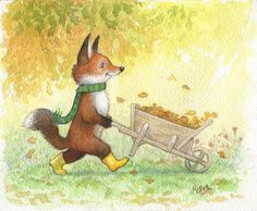 Petra Brown, Children's Book Illustrator - fox wearing yellow boots, pushing wheelbarrow of leaves