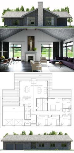 House Plans in Modern Architecture. Modern Floor Plans, Contemporary House Plans, Modern House Plans, Modern House Design, Model Architecture, Architecture Design Concept, Modern Architecture House, New House Plans, Small House Plans
