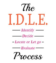 The IDLE Process (Identify, Decide, Locate or Let Go, Evaluate) | Organize 365