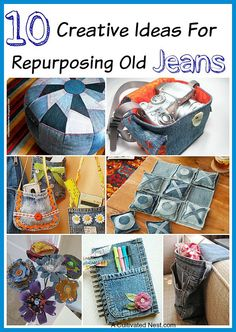 For Repurposing Old Jeans 10 Creative Ideas for Repurposing Old Jeans - don't throw out your old jeans. Lots of great ideas for using them to make stuff with! Fabric crafts, easy crafts, upcycle projects, DIY projectsThe Craft The Craft may refer to: Upcycled Crafts, Repurposed, Jean Crafts, Denim Crafts, Fabric Crafts, Sewing Crafts, Sewing Projects, Diy Fashion Projects, Do It Yourself Fashion