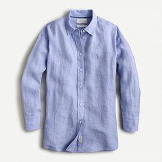 Women's New Arrivals : Dresses, Shoes & More | J.Crew J Crew Summer, Denim Button Up, Button Up Shirts, Beach Shirts, Blue Shirts, Linen Shop, Linen Skirt, Cashmere Sweaters, Workout Shirts