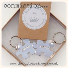 A new commission piece I can share with you lovely lot...  Two hand-cut/stamped sterling silver jigsaw keyrings...  Made totally by my own fair hands, hallmarked by The Assay Office in London and delivered to the customer last week...happy all round   I'm happily taking commissions, so if there's anything you want made for Christmas gifts, gimme a shout  Please drop me a line via here or email me at info@thebuttonprincess.co.uk to discuss your ideas.   #jewellery #jewelry #silver #925silver…