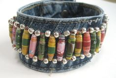 Large Boho Cuff with Colorful Paper Beads, Made from Recycled Jeans, for Men or Women. $20.00, via Etsy.