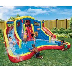 Buy Adventure Club Large Inflatable Water Cannon Slide Park Kid Splash Pool Cool Fun at online store Banzai Water Slide, Kids Water Slide, Water Slides, Backyard Water Parks, Backyard Kids, Inflatable Water Park, Bouncy House, Splash Park, Water Toys