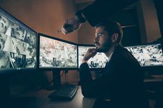 Profile side view portrait of nice attractive serious safeguard supervising alarm panel night shift top manager pointing at screen situation solving at workstation workplace , #AFF, #safeguard, #attractive, #supervising, #panel, #alarm #Ad Valentines Day Cards Diy, Night Shift, Winter Night, Side View, Graphic Design Art, Casual Chic, Workplace, Management, Profile