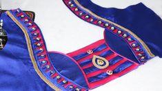Easy Blouse Back Neck Designe Cutting and Stitching at Home 2018 Chudithar Neck Designs, Salwar Neck Designs, Saree Blouse Neck Designs, Neck Designs For Suits, Dress Neck Designs, Pattern Blouses For Sarees, Patch Work Blouse Designs, Fancy Blouse Designs, Blouse Designs Catalogue