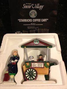 Snow Village Starbucks Coffee Cart