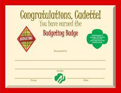 cadette budgeting certificate - Google Search