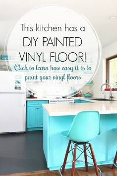 Learn how to paint a vinyl floor with this vinyl floor painting tutorial. See how a painted vinyl floor held up - years later - and see which products work best. Excellent flooring tutorial for a budget-friendly kitchen or bathroom makeover. Painted Bathroom Floors, Best Bathroom Flooring, Painted Vinyl Floors, Bathroom Vinyl, Kitchen Flooring, Painting Linoleum Floors, Linoleum Flooring, Diy Flooring, Flooring Ideas