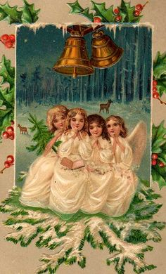 Angels we have heard on high! Christmas Postcards, Vintage Christmas Cards, Christmas Images, Vintage Cards, Christmas And New Year, Christmas Holidays, Victorian Angels, Christmas Angel Ornaments, Vintage Wrapping Paper