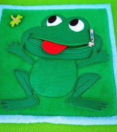 """Love this cheeky frog. Zip quiet book page. LaRisa: Розвиваюча книжка """"Веселка"""""""