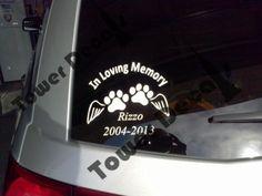 In Loving Memory of Pet Customizable Window, Bumper Vinyl Decal.   Tower Decals