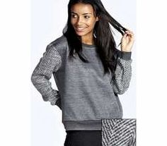 boohoo Imelda Knitted Sleeve Oversized Sweatshirt - Add that statement something to your staples with this contrast sleeve sweater . We love wearing it with ripped black jeans , simply stylish slip ons and a bold neon beanie . http://www.comparestoreprices.co.uk/womens-clothes/boohoo-imelda-knitted-sleeve-oversized-sweatshirt-.asp