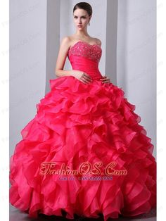 Hot Pink A-Line / Princess Sweetheart Beading and Ruffles Quinceanea Dress Floor-length Organza  http://www.fashionos.com  quinceanera dress with corset closure   quinceanera dress in hot pink   the most popular quinceanera dress   quinceanera dress princess   quinceanera dress with fitted waist  