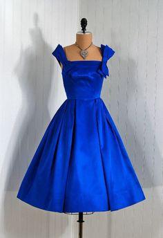 1950's Simpson of Orlando label, Silk taffeta gown