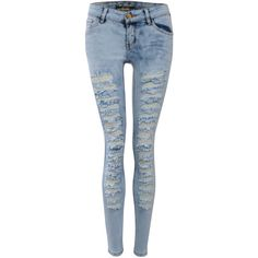 Pilot Mid Rise Extreme Ripped Skinny Jeans ($50) ❤ liked on Polyvore featuring jeans, pants, light denim, destroyed skinny jeans, stretch denim skinny jeans, mid-rise jeans, stretchy skinny jeans and stretch skinny jeans