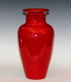 Large Vintage Bitossi Flavia Turned Italian Art Pottery Atomic Red Vase Raymor