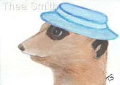 """NFAC ACEO """"Blue Hat - Meerkat"""" ORIGINAL Acrylic Painting Art by Thea Smith #Believeitornotthisisreal"""