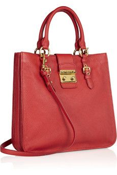 Miu Miu Madras textured-leather tote in fire-red