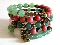bohemian bracelet stone memory wire bracelet green cuff bracelet boho green aventurine bracelet green and pink