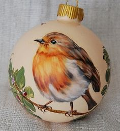 European Robin Christmas glass ornaments hand painted by www.uniquecustomartgifts.com